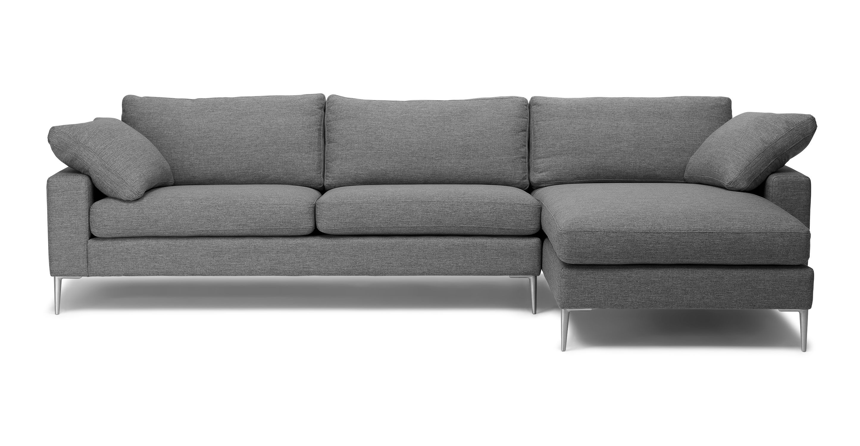 Nova Gravel Gray Right Sectional Sofa Modern Sofa Sectional Mid Century Modern Sectional Sofa Sectional Sofa
