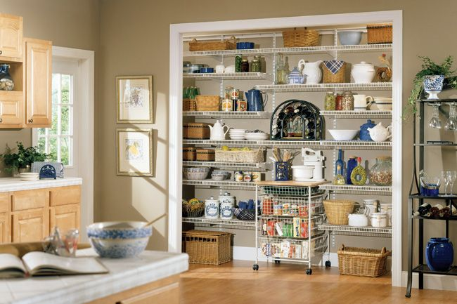 Closetmaid Shelving With A Rolling Cart For Baking Center