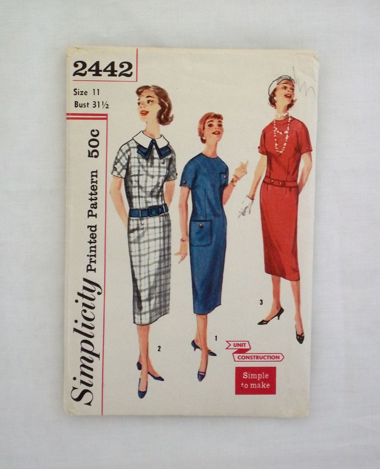 Vintage Simplicity dress pattern 2442 size 11 1958 sewing pattern ...