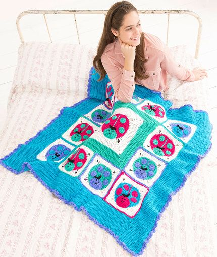 Lucky Ladybug Throw Free Crochet Pattern In Red Heart Yarns New