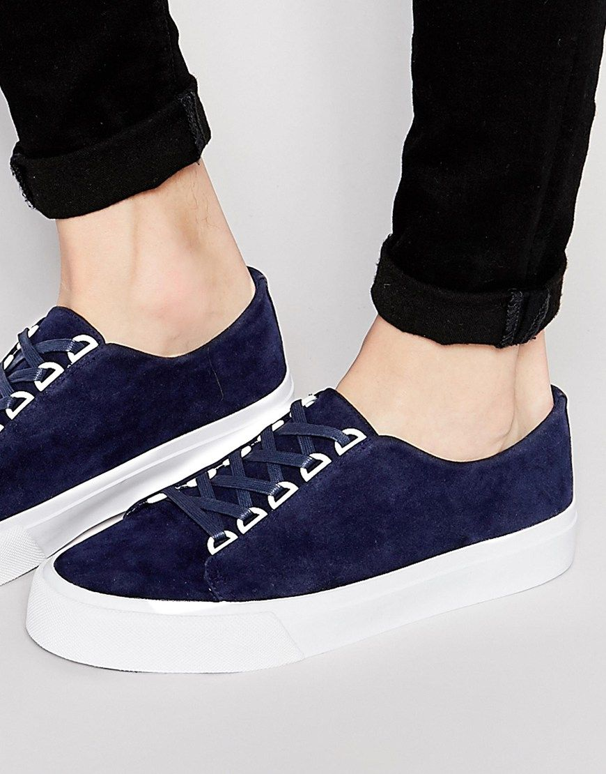 Image 1 of ASOS Lace Up Sneakers in Navy Faux Suede