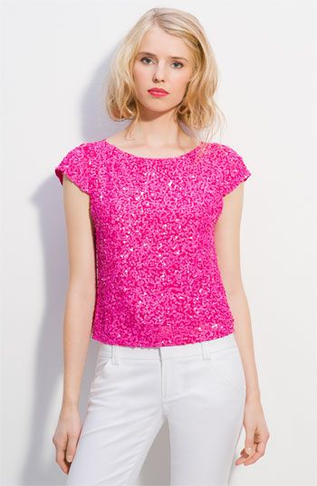 0d4f1356c64 love this hot pink alice+ olivia sequin crop top | Glamorous Fashion ...