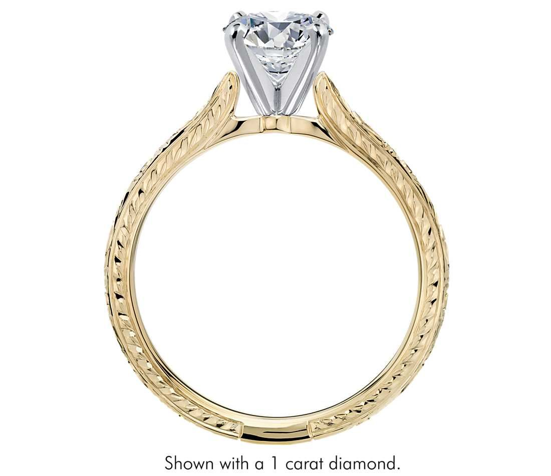Handengraved Solitaire Engagement Ring In 18k Yellow Gold