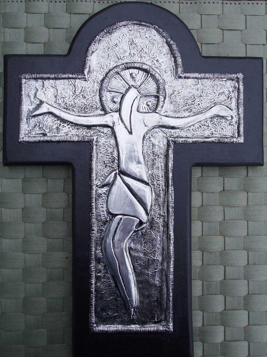 JESUS PÅ KORSET. Aluminium Art embossing. Galleri