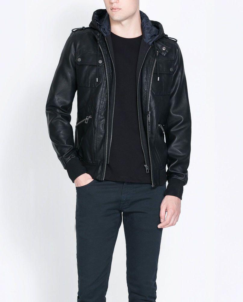 Nwt Ed Jordan Men S Zara Faux Leather Hooded Jacket Black Motorcycle S 2xl Faux Leather Hooded Jacket Jackets Hooded Jacket [ 1000 x 807 Pixel ]