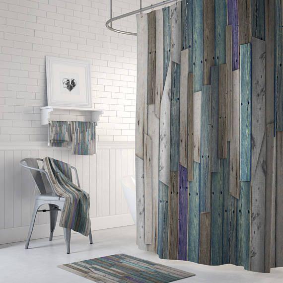 Farmhouse Chic Rustic Wood Shower Curtain Bath Mat Bath Towels