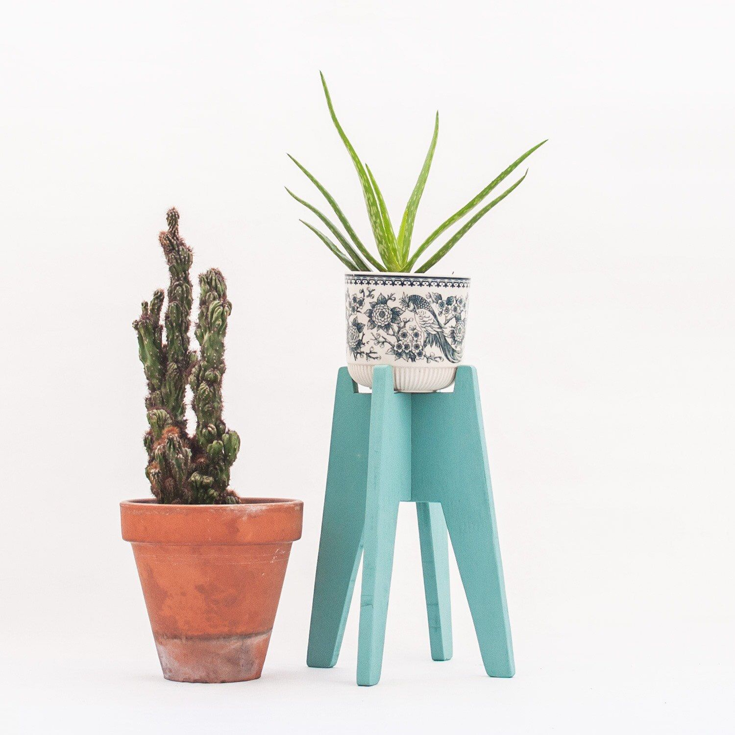 Pastel Handpainted Plant Stand With A Mid Century Style Pick Your