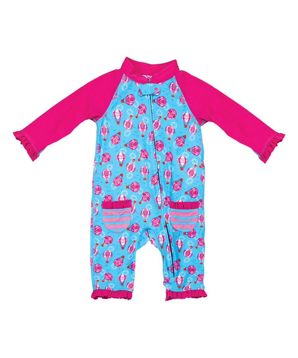 77dc1064f This Hot Pink Hot Air Balloons Swimsuit - Infant   Kids by UV Skinz ...