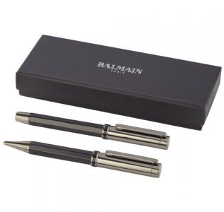 Engraved Balmain Orleans duo pen gift set, solid black