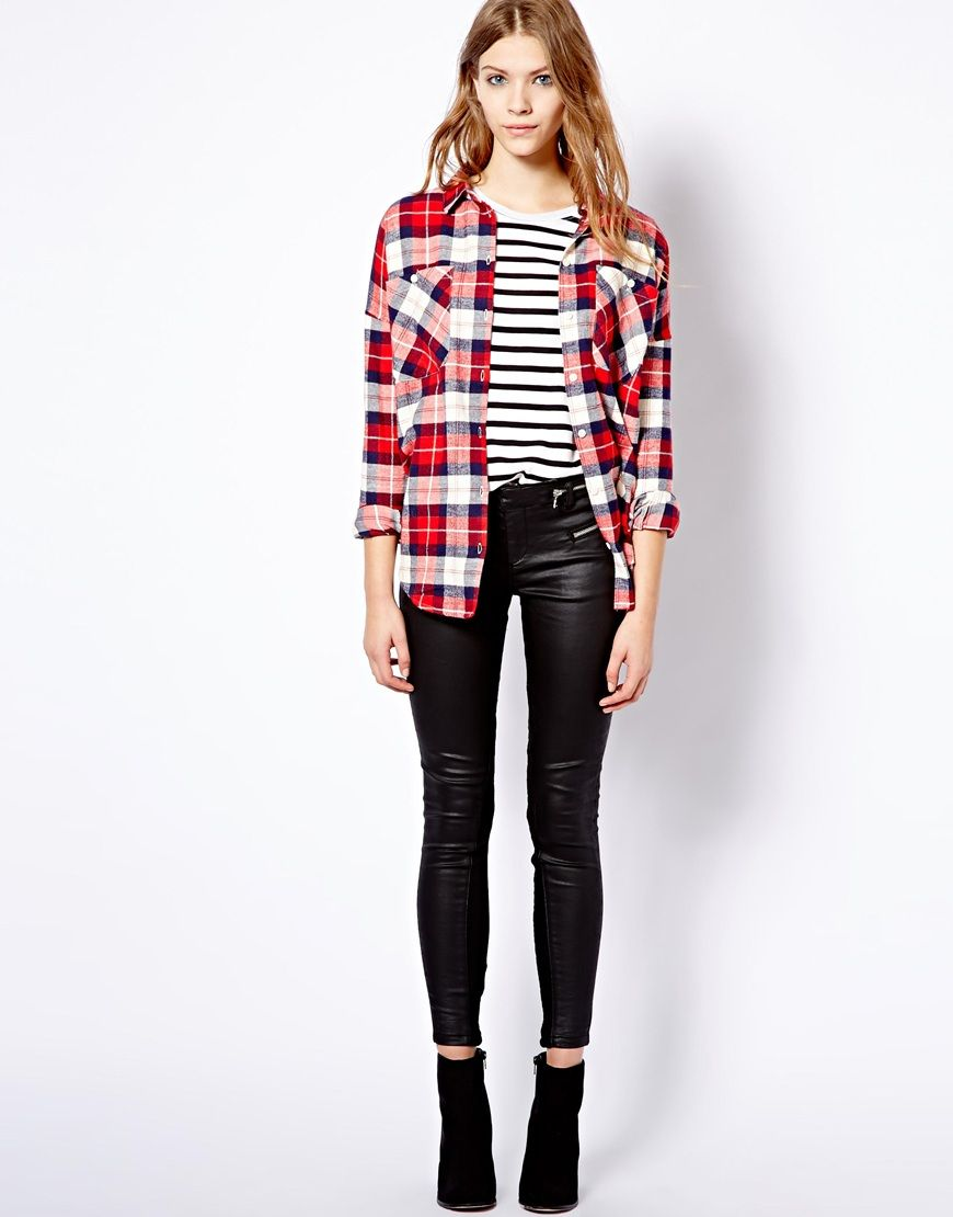 Red flannel around waist  Iuve always wanted a pair of leathers  Pull and Bear at ASOS