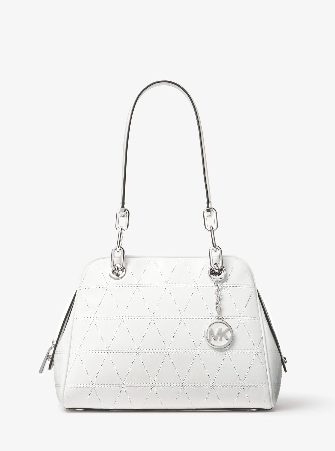 151b69a1662e Sale Michael Kors Optic White Venice Quilted Leather Satchel Outlet ...