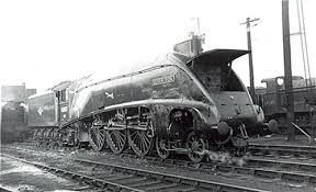 Former LNER A4 pacific locomotive 'Silver Fox' (note the