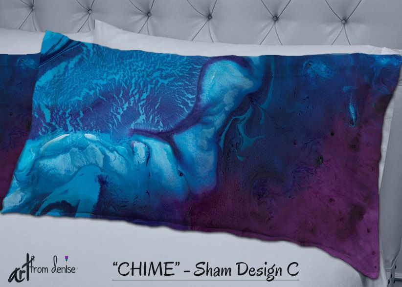Pillow shams, Navy blue aubergine plum burgandy, Master bedroom decor, Dorm room, Abstract art
