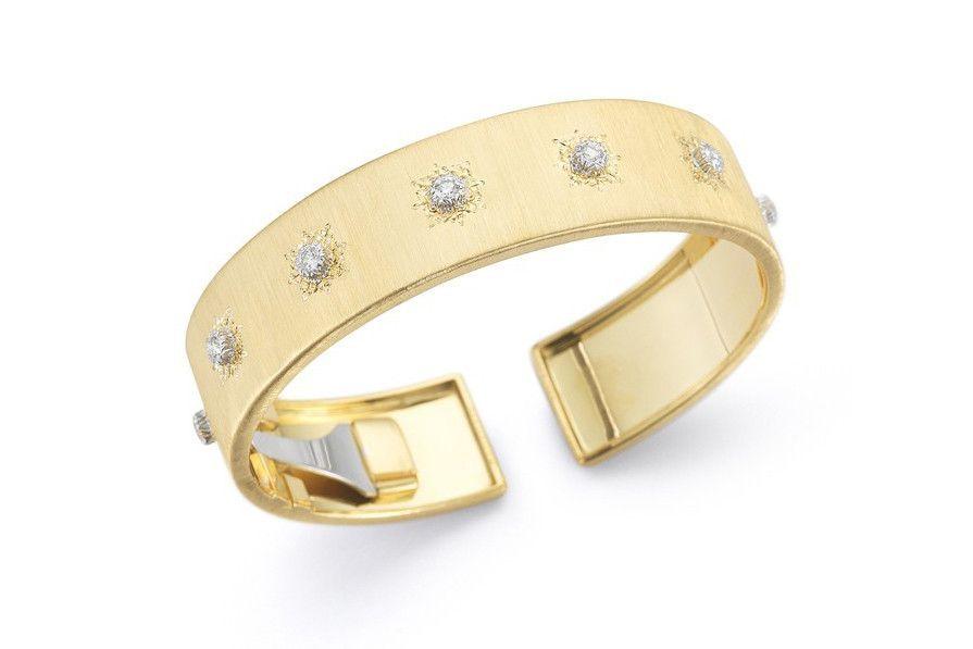 Buccellati Macri 18k Yellow Gold Diamond Bangle Bracelet Yh1jS