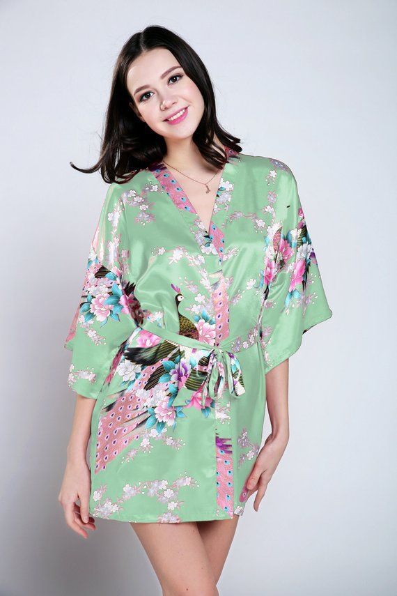 Light Green Silk Dressing Gown Ankle Length Dressing Gown Ladies