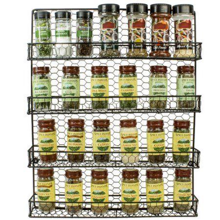 Sorbus Spice Rack and Multi-Purpose 4-Tier Organizer, Black