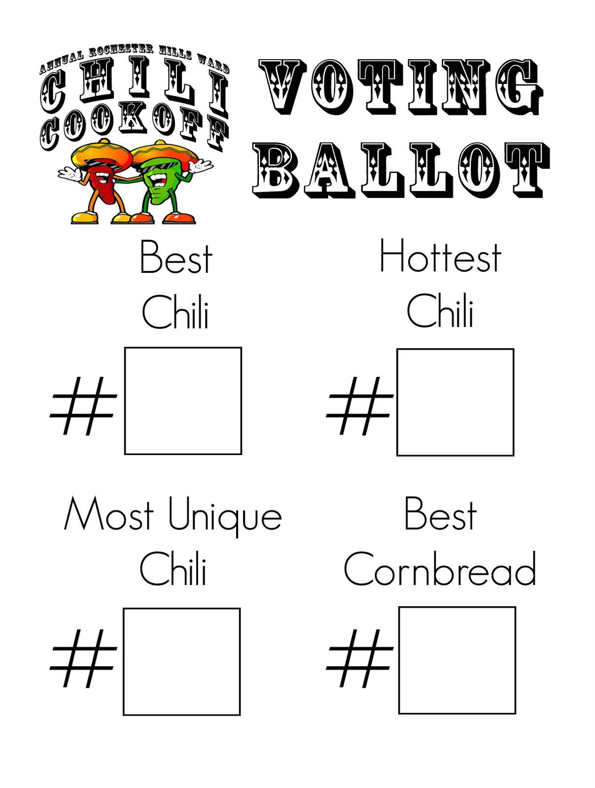Chili ballot template chili cook off ballots projects for Voting slips template