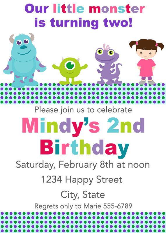 Mini Monsters Inc Birthday Invitation by HeartfeltInvitations