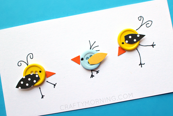 Supplies Needed: Buttons Scrapbook paper Glue Skinny black sharpie/pen Start by gluing buttons to a piece of card stock paper then add some eyes, legs, feathers, etc with the sharpie! Cut out little beaks and wings from scrapbook paper then glue them to the buttons. These make adorable little cards…add some music notes between them …