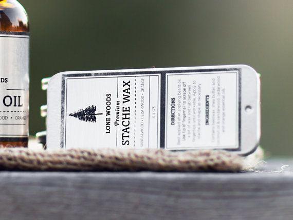 LONE WOODS Natural, Premium Stache Wax - (Sandalwood, Cedarwood, & Orange Scent) - Moustache Care Made in Canada