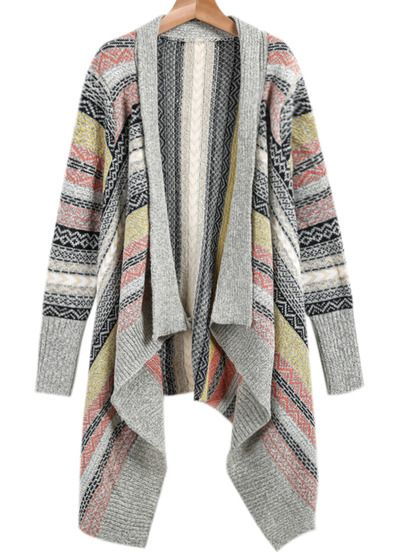 553a21d92574b Light Grey Long Sleeve Tribal Print Knit Cardigan   work clothes in ...