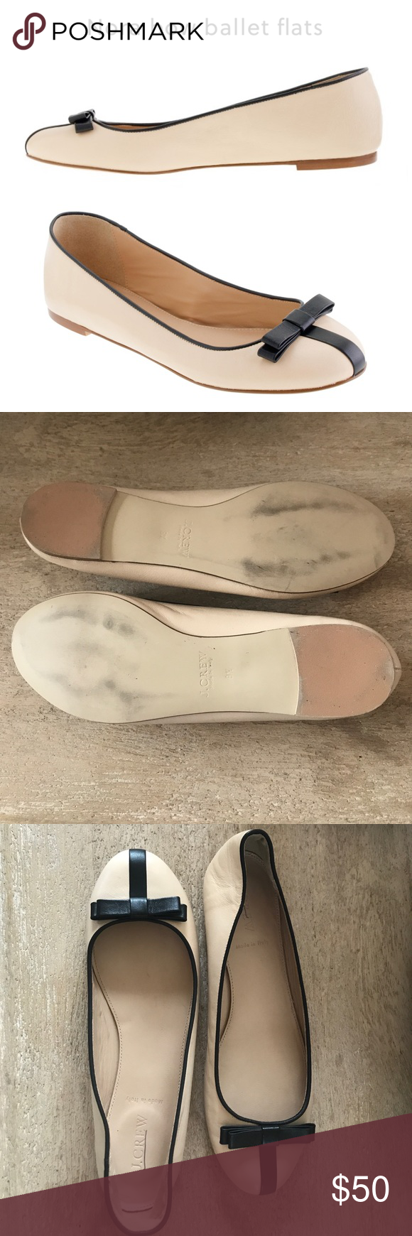 J. Crew Nora ballet bow flats Excellent like new condition! PRODUCT DETAILS Prepare to be charmed out of your heels: We've stepped up the design of our much-loved ballet flats with new details, including a cushioned insole for maximum comfort (and we even removed the shank, making them supremely flexible—talk about raising the barre). Crafted in supple leather and finished with a sweet bow and a vertical stripe at the toe, they might just be our most-worn pair of the season.  Fit true to…