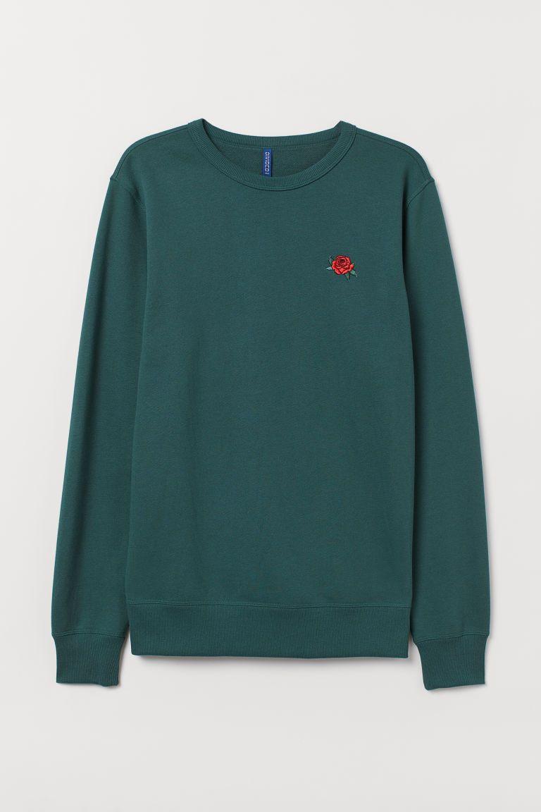 Sweatshirt With Embroidery Dark Green Men H M Us Sweatshirts Embroidery Sweatshirt Vintage Hoodies [ 1152 x 768 Pixel ]