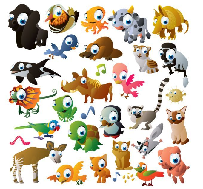 cartoon animals vector graphic pinterest