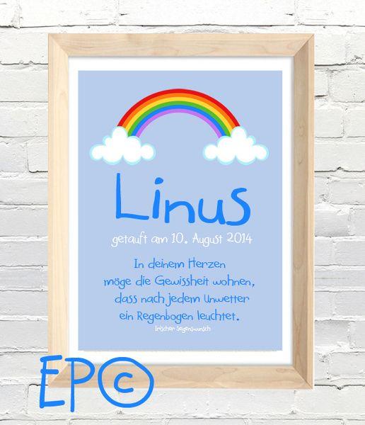 ★ TAUFPRINT rainbow. ★ 21x30,5cm von ★eazy peazy★ auf DaWanda.com