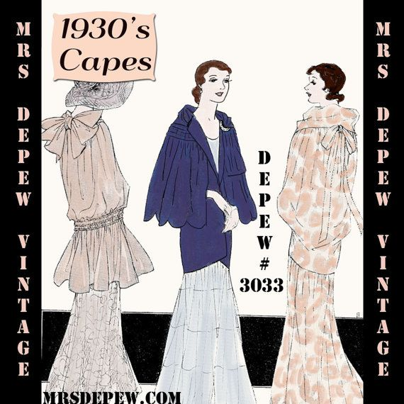 Vintage Sewing Pattern 1930\'s Evening Wraps or Capes Booklet Depew ...