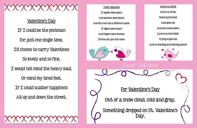Valentine Poetry Freebies Grade Onederful Poetry Freebie Valentines Poems Kids Poems