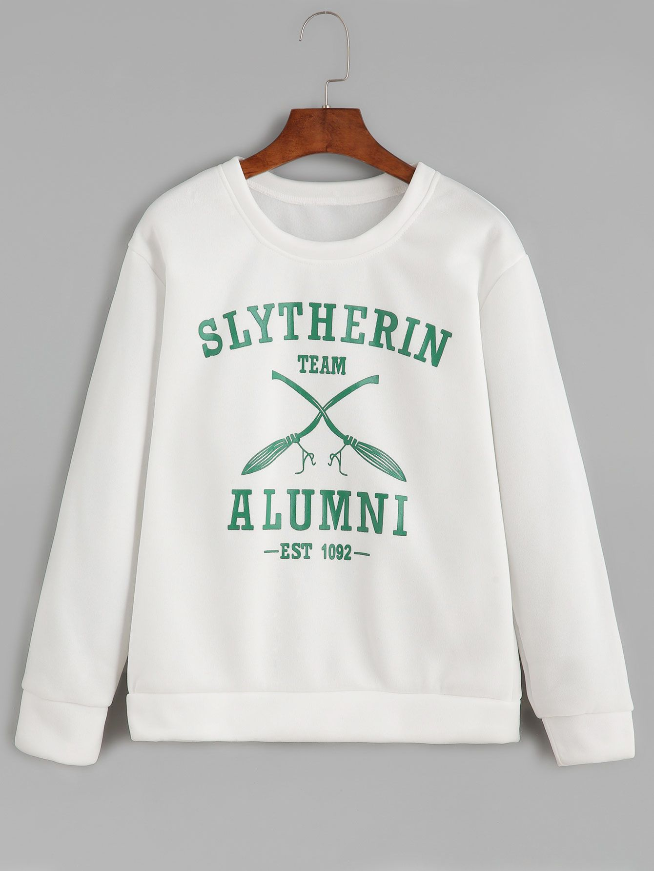 Shop White Round Neck Letters Print Sweatshirt Online Shein Offers White Round Letter Print Sweatshirt Sweatshirts Slytherin Clothes [ 1785 x 1340 Pixel ]