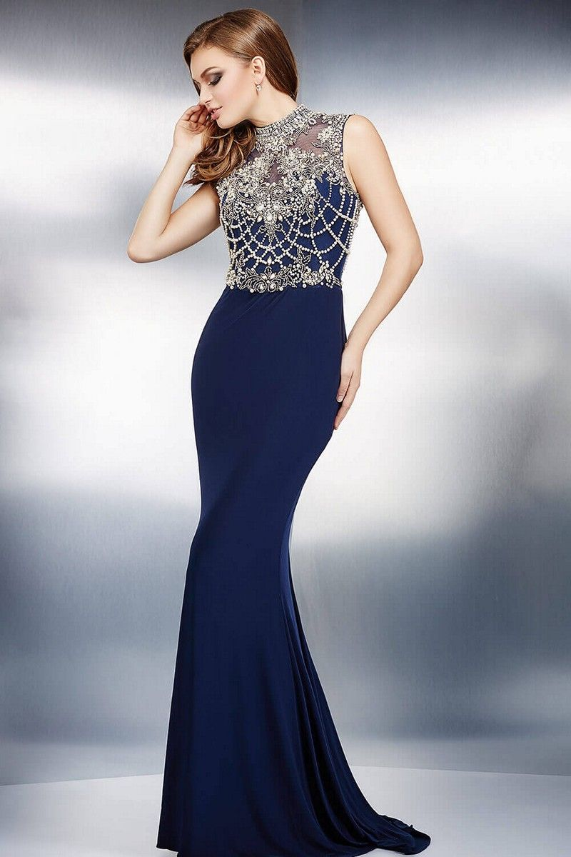 9219307973e This full-length Jovani 27840 fitted evening dress features a crystal  embellished sleeveless bodice with illusion high collar neckline and cutout  back.