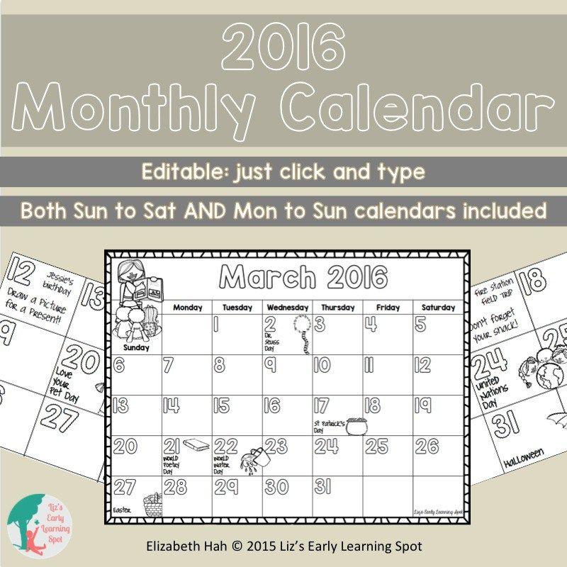 editable monthly calendar for teachers