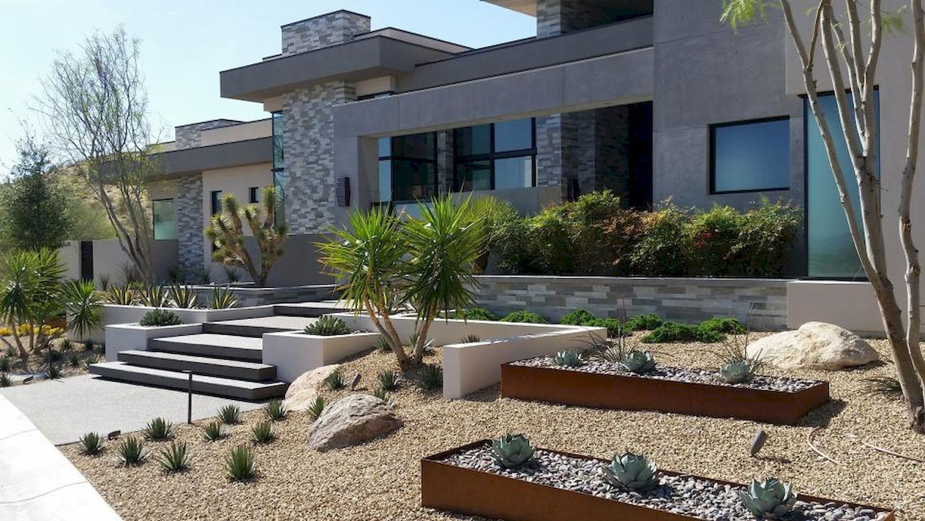 Simple Low Maintenance Front Yard Landscaping Ideas 31 Modern Landscaping Modern Front Yard Front Yard Landscaping Design