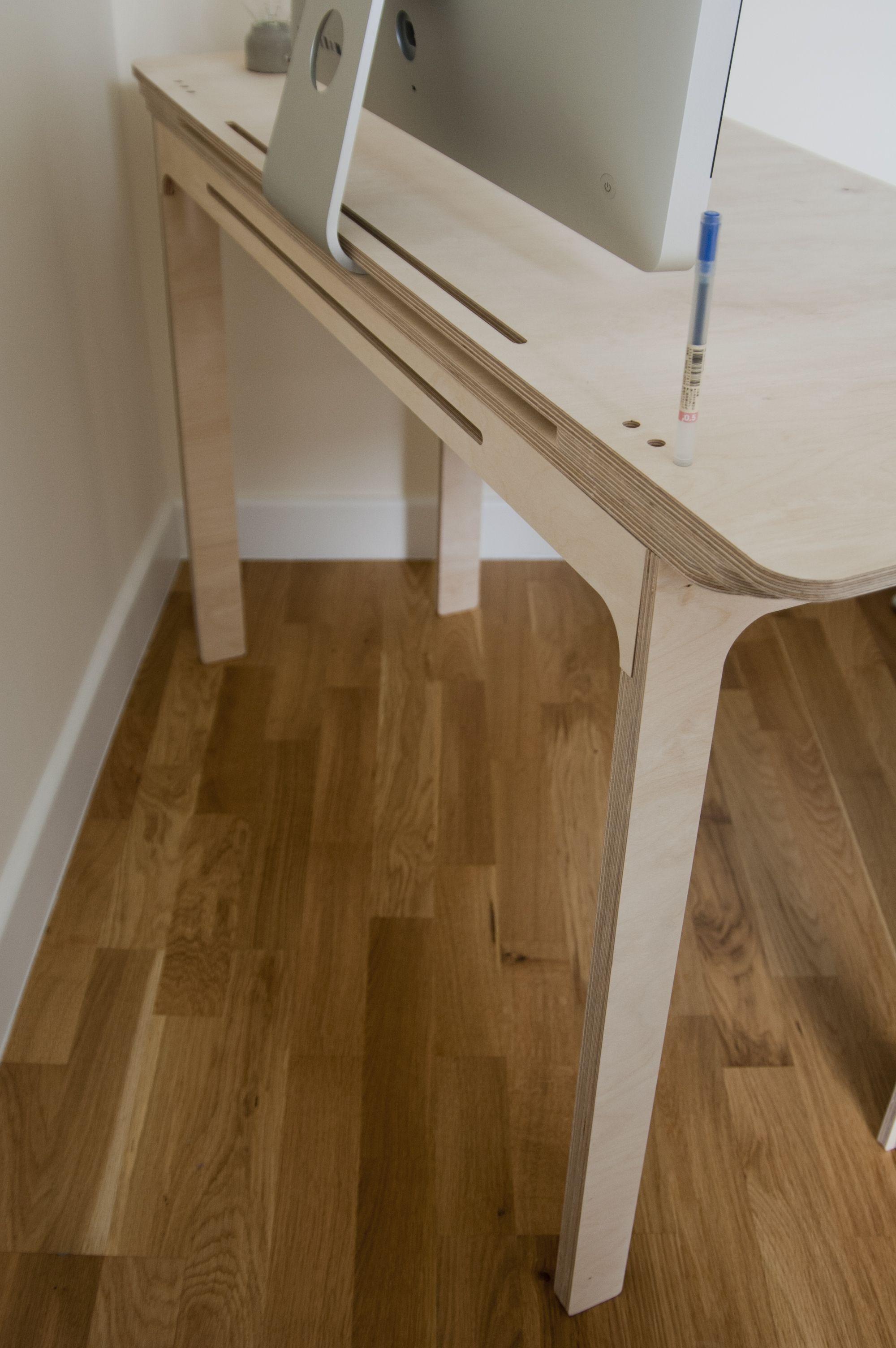 Plywood Desk Design : plywood, design, Plywood, Inbuilt, Shelf, Organisers., Desk,, Setup,