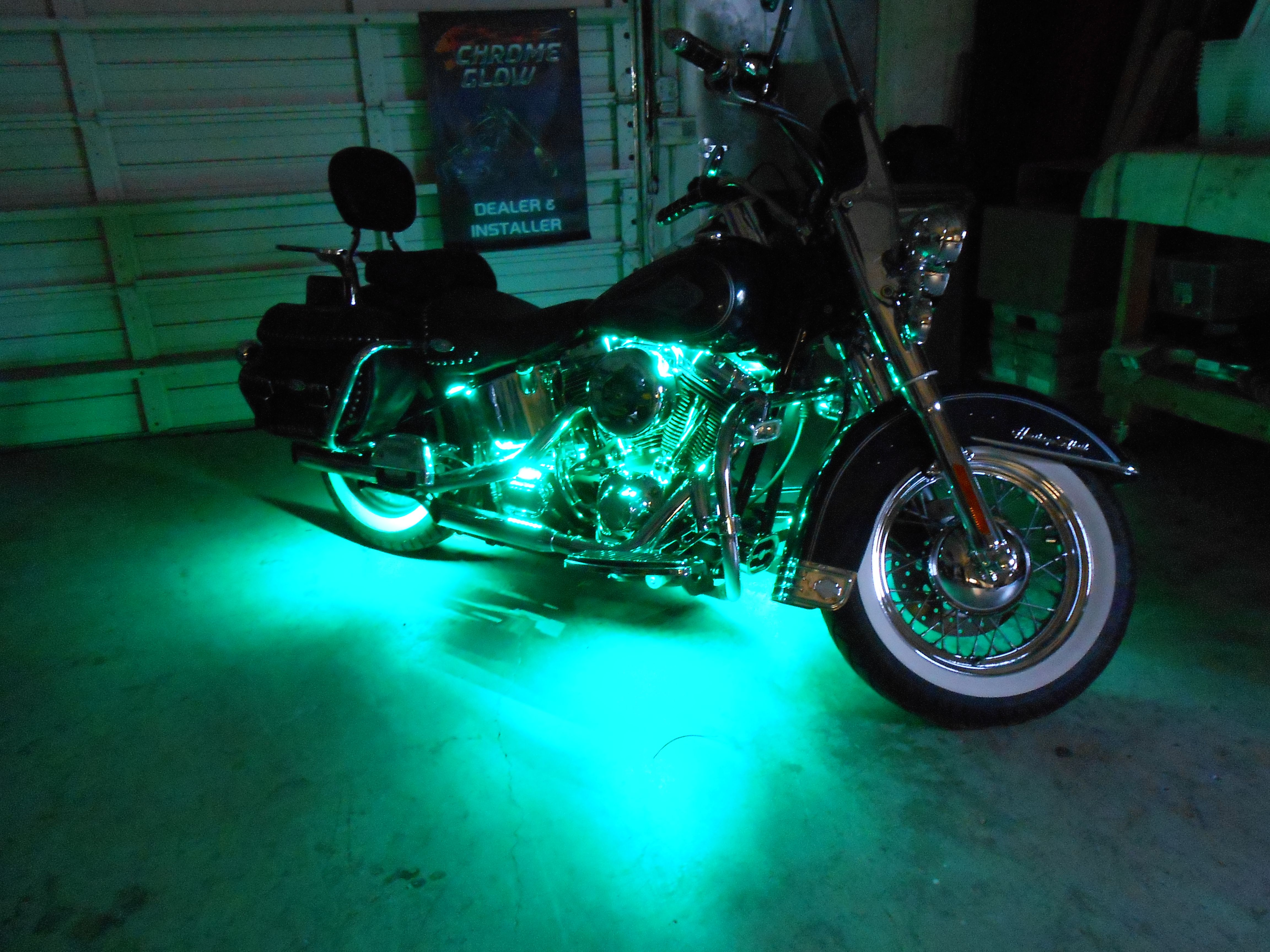 Shop Work Custom Led Accent Light Installation The Guys Hooked This 2001 Heritage Softail Up W Motorcycle Lights Led Accent Lighting Motorcycle Led Lighting