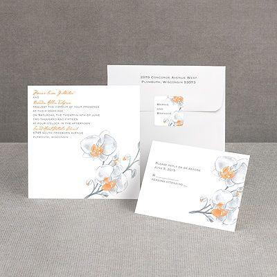 Watercolor Orchid - Orange - Invitation