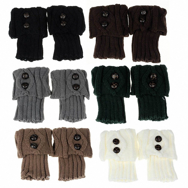 Women crochet knitted button lace trim boot cuffs leg warmer socks tights 1betcityfo Choice Image