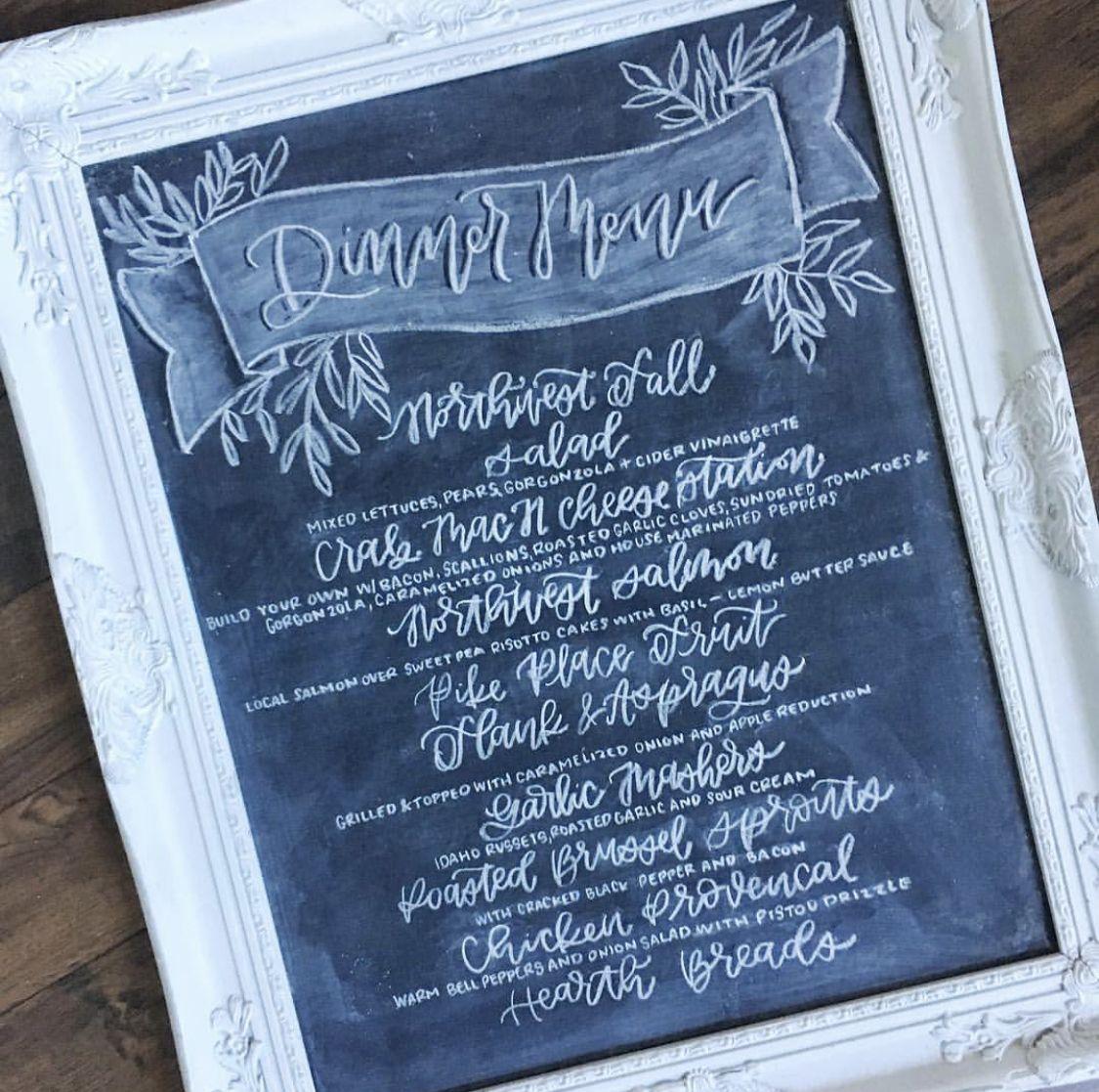 Dinner menu by champagne chalk autumn salad chalk