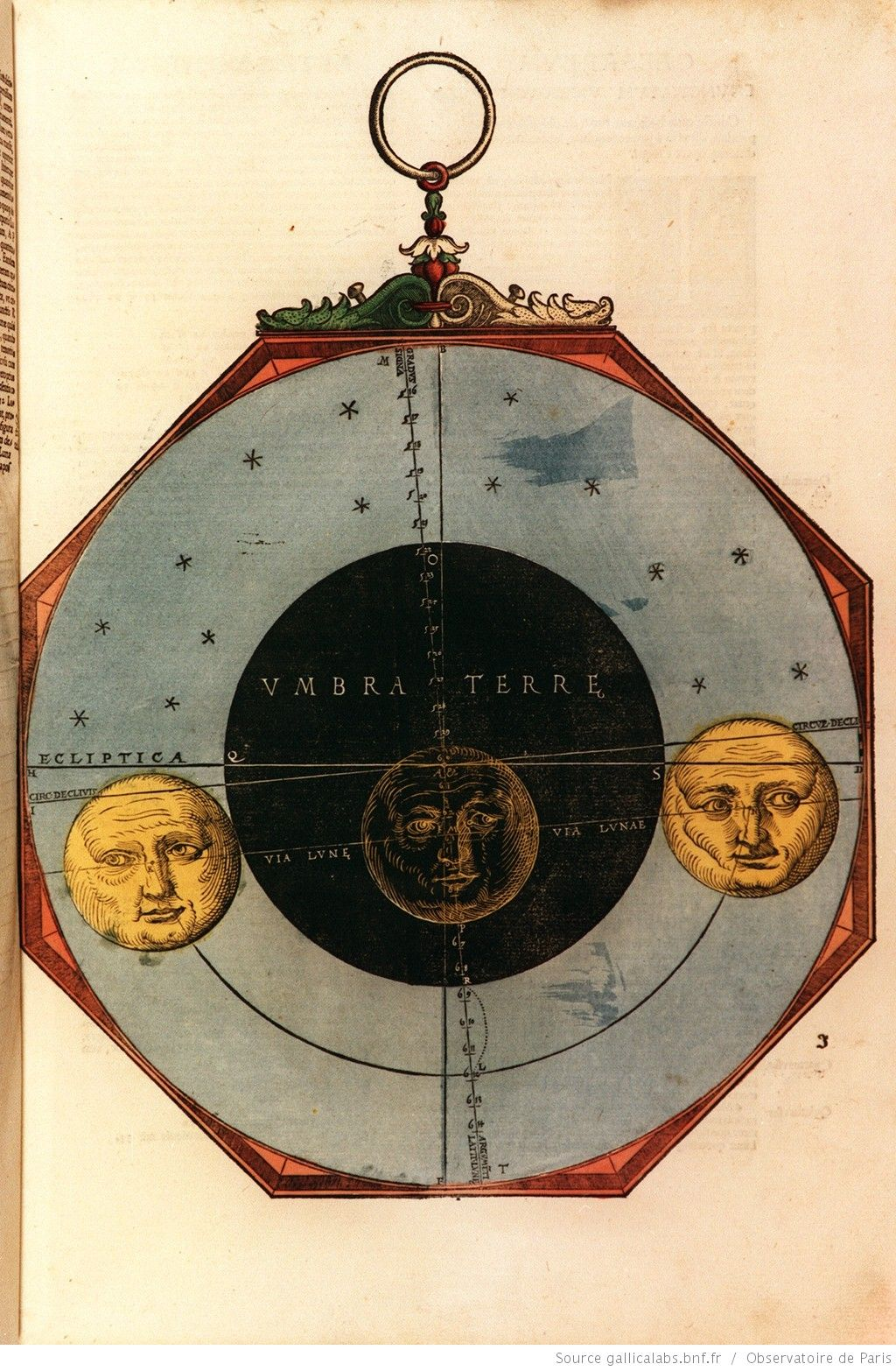 [Illustrations de Astronomicum caesareum] / Disque illustrant l'éclipse totale de lune du 6 octobre 1530