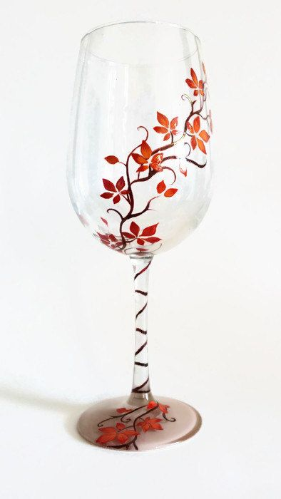 9983828185e Hand Painted Wine Glass Colorful Vines Custom Color Leaves Pretty ...
