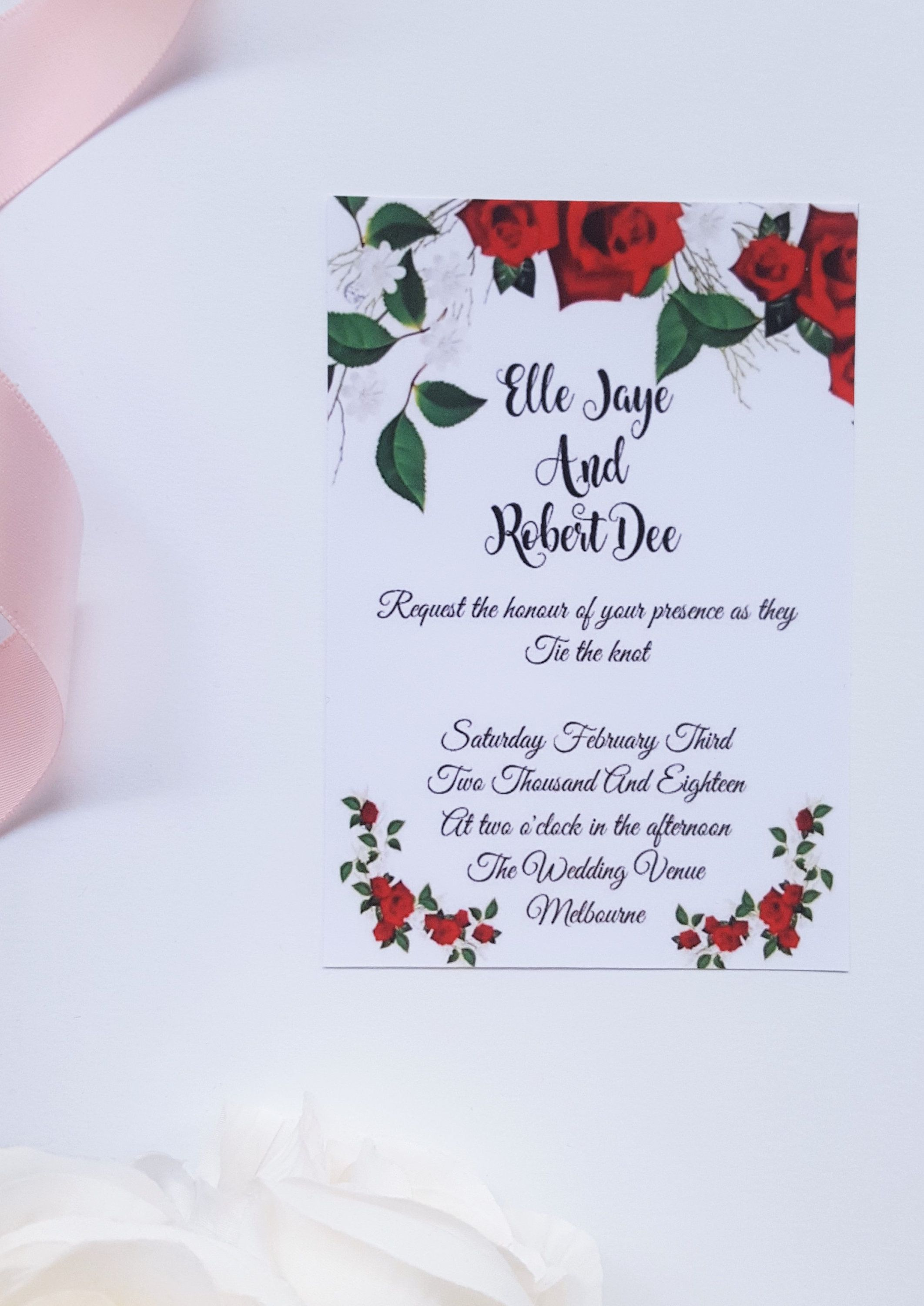 Black And Red Roses Personalised Wedding Invitations
