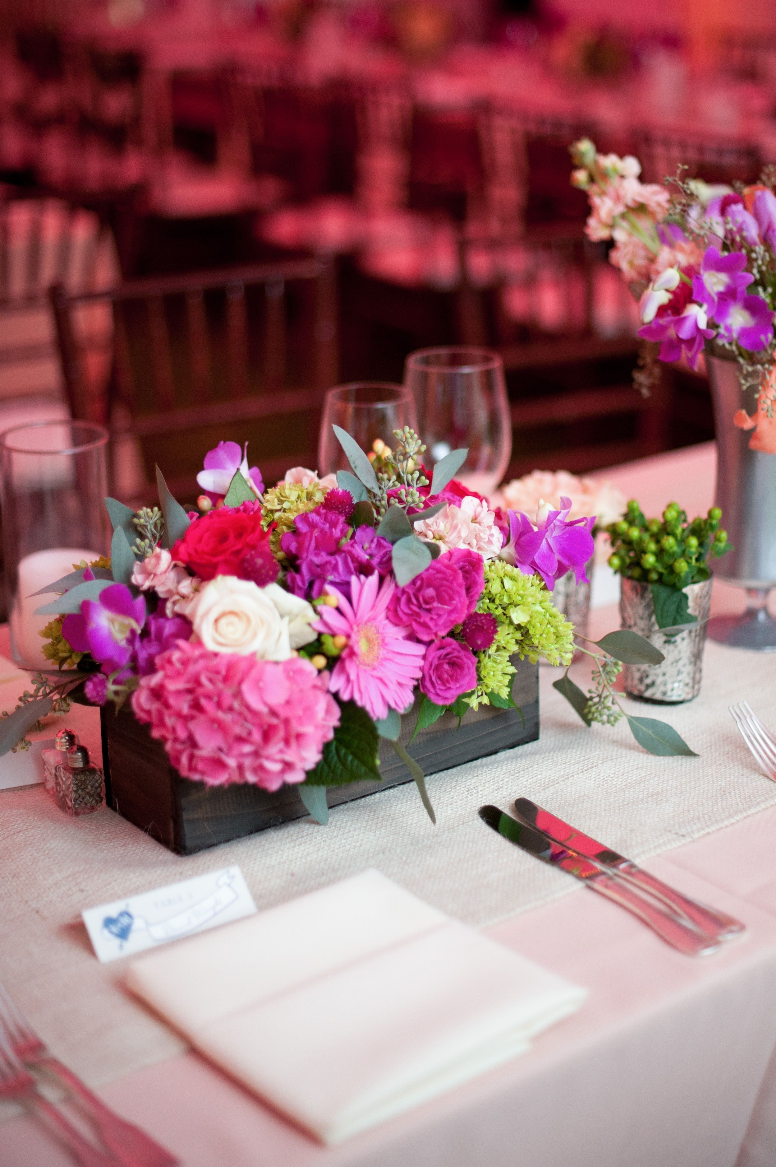 Wooden Flower Box Centerpiece with silver accent vases