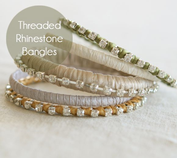 A great tutorial ive seen the bangles at kmartwalmart and crafty jewelry threaded rhinestone bangle diy tutorial crafts ideas crafts for kids solutioingenieria Images
