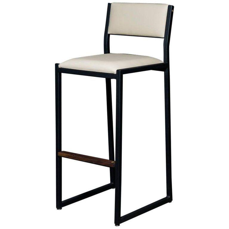 Shaker Barstool Chair By Ambrozia Walnut Black Steel Cream