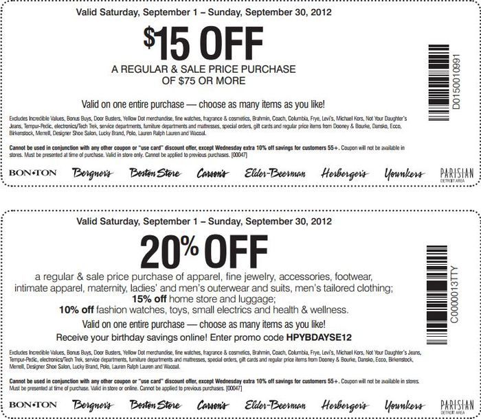 photo about Younkers Printable Coupons called Bergners, BonTon, Carsons, Herbergers, Younkers, Boston