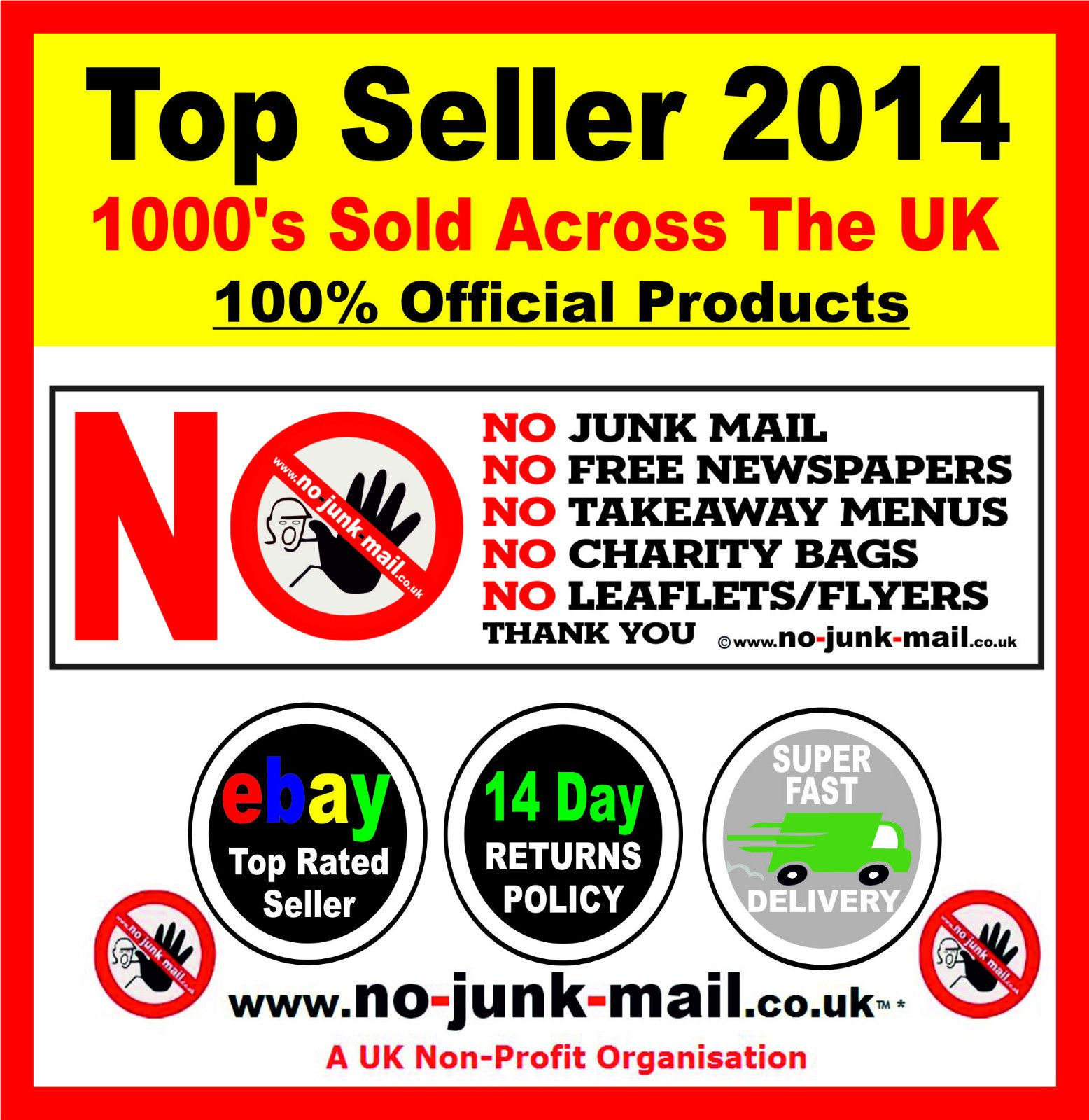 no junk mail sign flyers menus leaflets letterbox sticker product