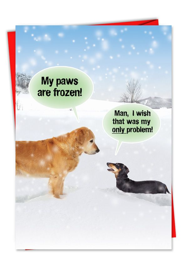 Dogs In Snow Funny Christmas Card With Dogs Dog Card With