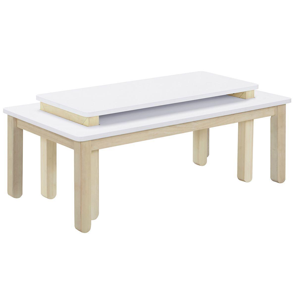 Table Basse Scandinave Avec Banc Integre Blanc Et Bois Clair Cybel Taille Taille Unique Table Basse Scandinave Table Basse Et Bois